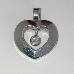 Jewelry - Solid 14K White Gold Moving Diamond Heart Pendant